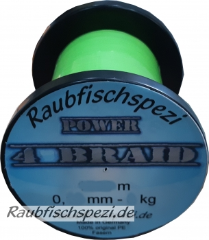 "Raubfischspezi  Power  Braid 0,10 mm - 7 kg  ""Neongrün""          /50m -"
