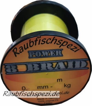 "Raubfischspezi  Power 8 Braid 0,18 mm - 13 kg  ""Gelb""          /50m"