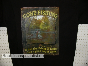 "T-Shirt ""Gone fishing"" schwarz"