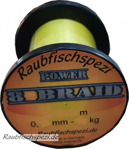"Raubfischspezi  Power 8 Braid 0,14 mm - 10 kg  ""Gelb""          /50m"